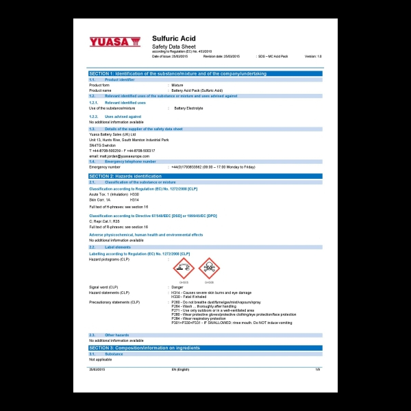 GS Yuasa Safety Data Sheets